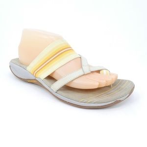 Merrell Yellow Striped Loop Toe Leather Flip Flops